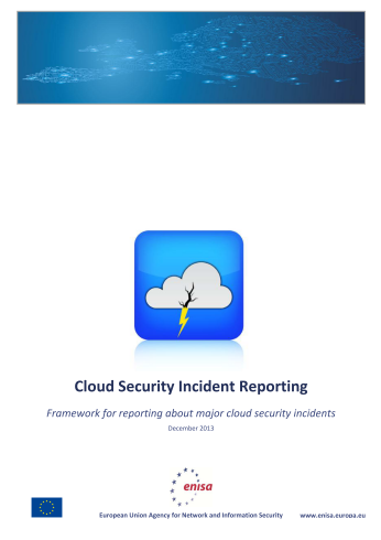 2013 Dec ENISA - Incident Reporting for Cloud Computing