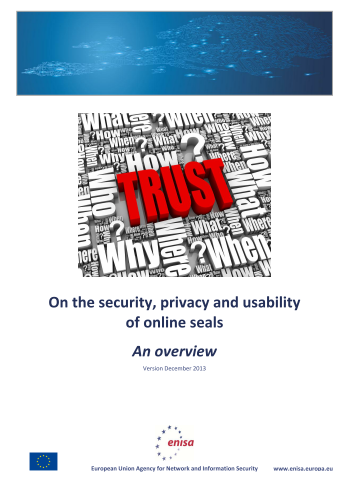 2013 Dec ENISA - On the security, privacy and usability of online seals