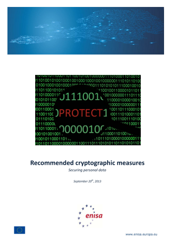 2013 Nov ENISA - Recommended cryptographic measures - Securing personal data