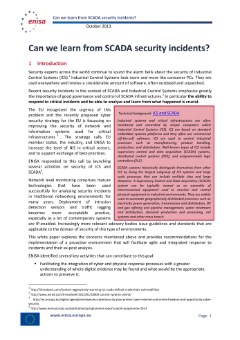 2013 Oct ENISA - Can we learn from SCADA security incidents