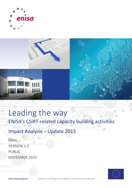 2015 Nov ENISA - ENISA's CSIRT-related capacity building activities