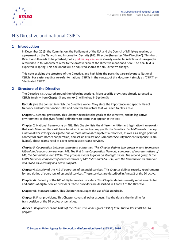 2016 Feb ENISA - NIS Directive and national CSIRTs