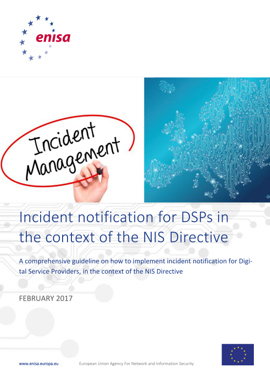 2017 Feb ENISA - Guidelines for the implementation of mandatory incident reporting