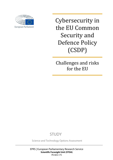 2017 Jun ENISA - Cybersecurity in EU Common Security and Defence Policy CSDP
