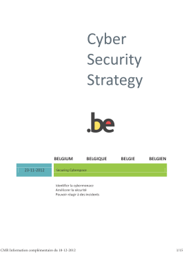 Cyber Security Strategy-Belgium 2014-FR