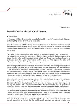 Cyber Security Strategy-Denmark 2015-2016