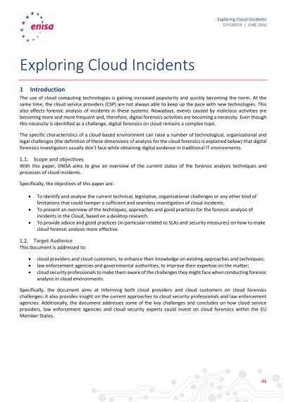 ENISA-Exploring Cloud Incidents - Short Paper