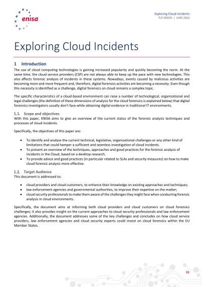 ENISA-Exploring Cloud Incidents - Short Paper