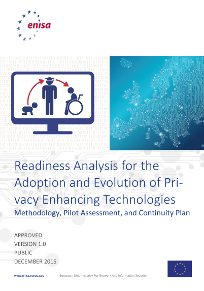 ENISA-Readiness Analysis for the Adoption and Evolution of Privacy Enhancing Technologies