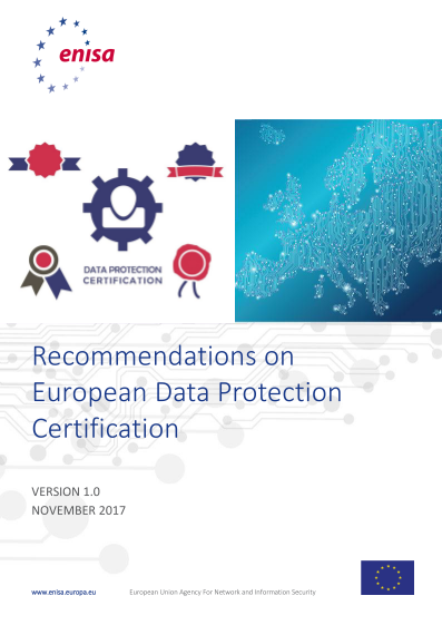 2017 Nov ENISA - Recommendations on European Data Protection Certification