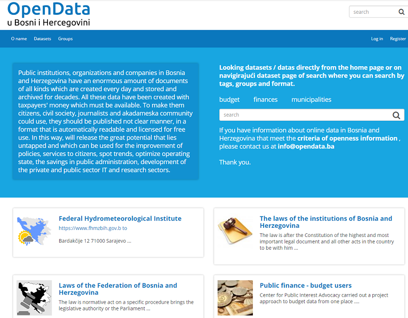 Bosnia And Herzegovina Open Data Portal
