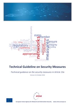 2014 Oct ENISA Article_13a Technical Guideline on Security Measures